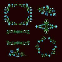 Floral design elements set, ornamental frames.