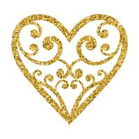 Ornamental glitter Valentines Day heart on a white background.