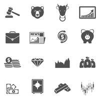 Icone di scambio di finanze nere