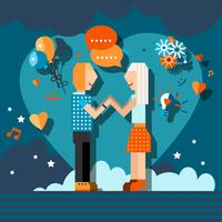 Loving couple chat vector