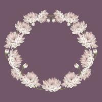 Crisantemos Marco de círculo decorativo con flores para su diseño. Plantilla de tarjeta floral. Ilustracion vectorial Para boda, tarjetas de felicitación, texto o foto.