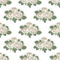 Retro floral seamless pattern. Roses on white background. Vector illustration