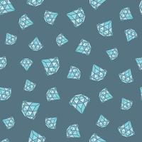 Seamless pattern of geometric blue diamonds on grey background. Trendy hipster crystals design.