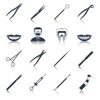 Dental instruments icons set black