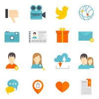 Social icons set flat vector