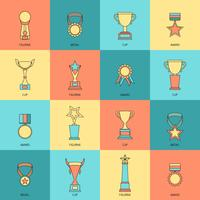 Trophy icons set flat line
