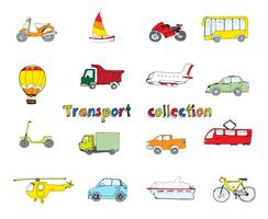 Transporte conjunto doodle coloreado. vector