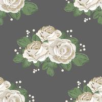 Retro floral seamless pattern. White roses on dark background. Vector illustration