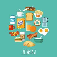 Petit déjeuner icône plat