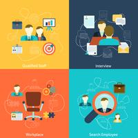 Human resources flat icons composition
