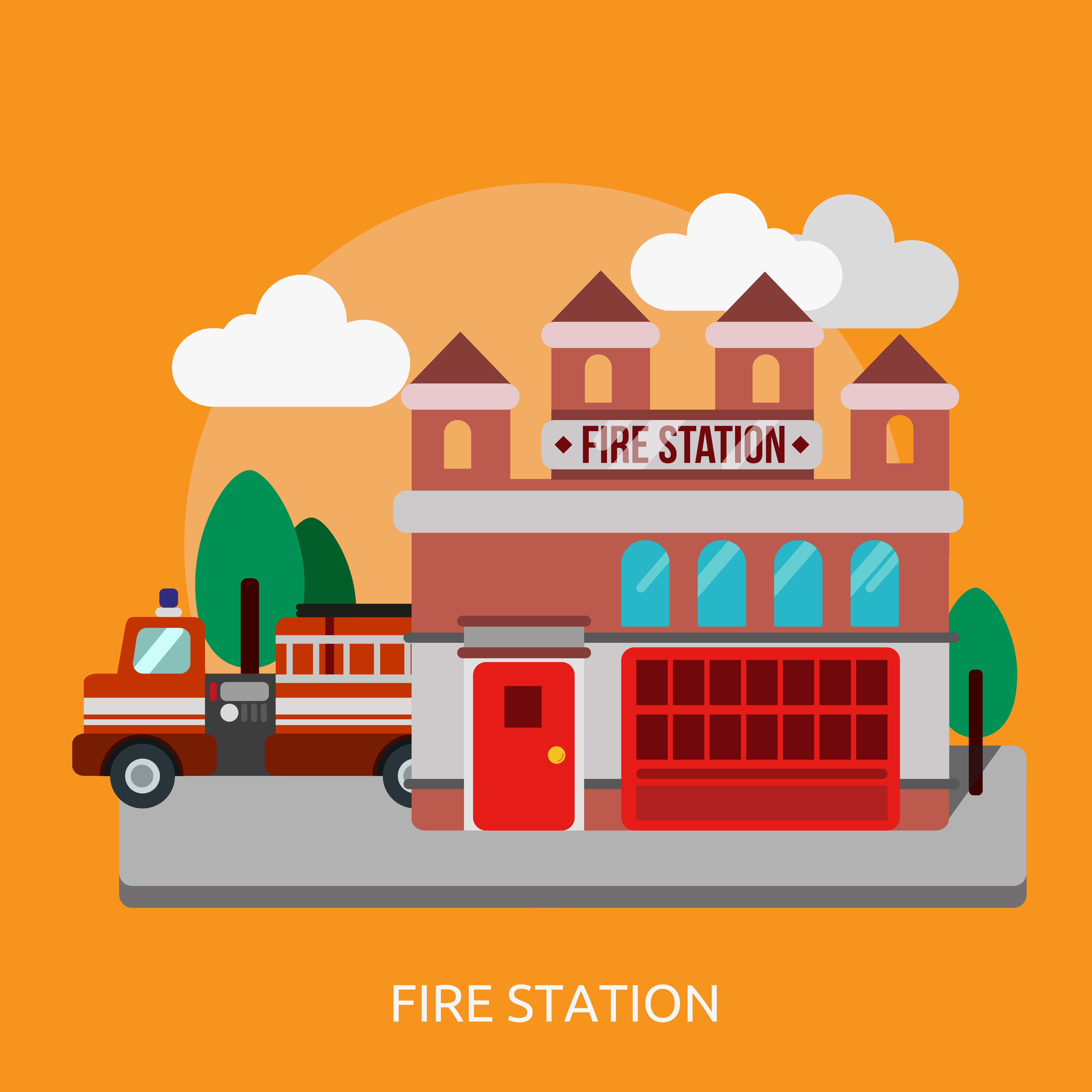 Une caserne de pompiers sur fond blanc - Telecharger Vectoriel Gratuit,  Clipart Graphique, Vecteur Dessins et Pictogramme Gratuit