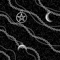 Seamless pattern background with pentagram and moon pendants on silver metallic chain. On black. Vector illustration