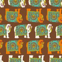 India elephant seamless pattern