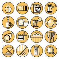 Mat ikoner platt linje uppsättning