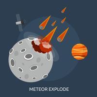 Meteoor Explodeer Conceptueel illustratieontwerp