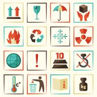 Conjunto de símbolos de embalaje