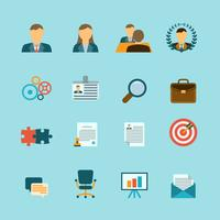 Ressources humaines plat Icons Set