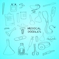 Medical symbols emblems doodle set