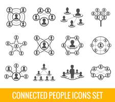 Connected people black icons set