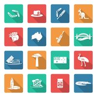 Australia icons set white