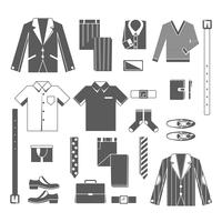 Business Man Clothes Icons Set