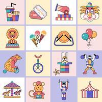 Conjunto de ícones de circo linha plana