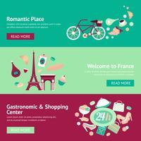 Conjunto de banners de Francia vector