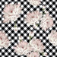 Floral seamless pattern with chrysanthemums on gingham, checked background.