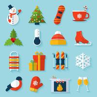 Winter stickers set vector