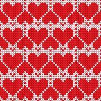 Valentine's Day love heart knitted seamless pattern. Textures in red and white colors. Vector illustration