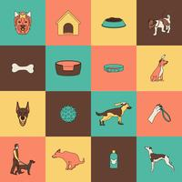 Dog icons flat line vector
