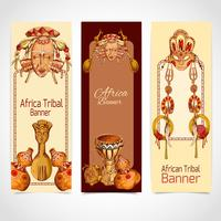 Africa sketch colored banners vertical vector