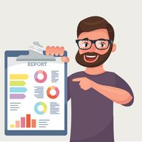 Happy beard businessman shows finance report.  vector