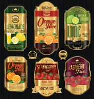 Set of organic fruit retro vintage golden labels collection