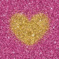 Yellow gold glitter heart on purple pink texture. Shimmer love background.