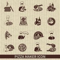 icono de fabricante de pizza negro