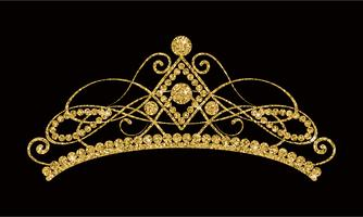 Glittering Diadem. Golden tiara isolated on black background. vector