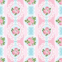 Shabby chic rose seamless pattern on pink background