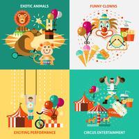 Circus icons flat set