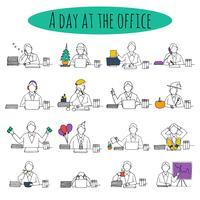 Personas en el escritorio de la oficina. vector