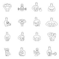 Bodybuilding fitness gym pictogrammen
