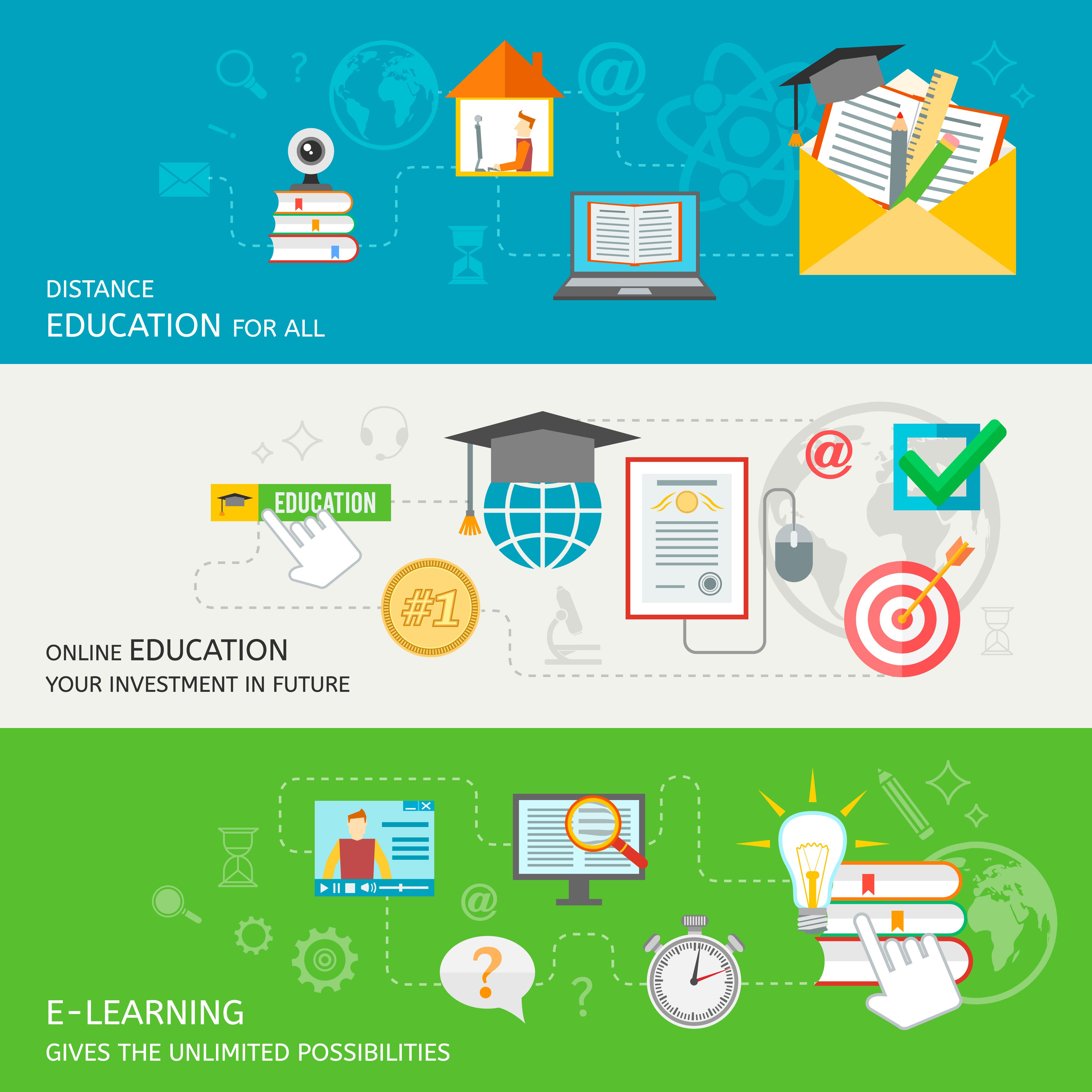 Online Education Banner - Download Free Vector Art, Stock Graphics