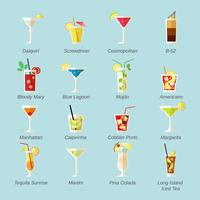 Alcohol Cocktails Icons Flat vector