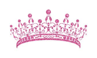 Glittering Diadem. Pink tiara isolated on white background. vector