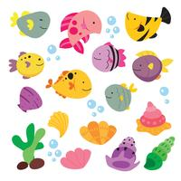 ocean animals collection design vector