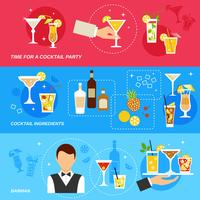 Alcohol Cocktails banner set vector