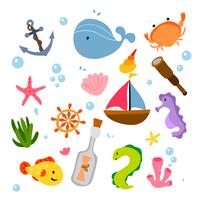 diseño de colección de animales del océano