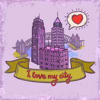 Sketch city background vector