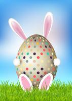 Cute Easter background with bunny holding egg