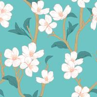 Árvore de florescência. Padrão sem emenda com flores. Textura floral primavera. Mão desenhada ilustração vetorial botânica